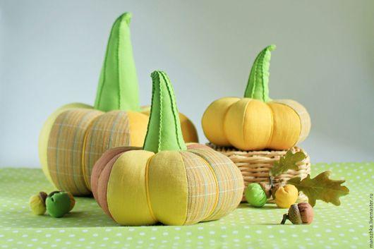 Комплекты аксессуаров ручной работы. Ярмарка Мастеров - ручная работа. Купить интерьерные тыквы Урожайный год. Желтый, медовый, горчичный, коричневый, зеленый.