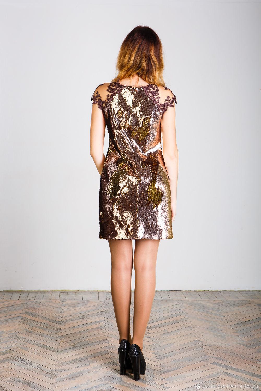 Bronze-gold dress from bilateral sequins – shop online on Livemaster ...