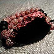 """Браслет из бусин ручной работы. Ярмарка Мастеров - ручная работа Браслет из агата и шунгита """"Рубиновое настроение"""". Handmade."""