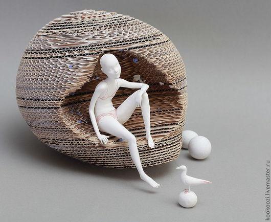 Коллекционные куклы ручной работы. Ярмарка Мастеров - ручная работа. Купить Белое безмолвие. Handmade. Белый, светильник, одиночество, гофрокартон