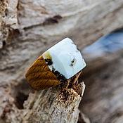 Украшения handmade. Livemaster - original item Wooden ring with white amber. Handmade.