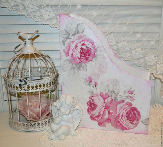 """Журнальницы ручной работы. Ярмарка Мастеров - ручная работа. Купить журнальница подставка для бумаг журналов - """"Розовые розы"""". Handmade. Розовый"""