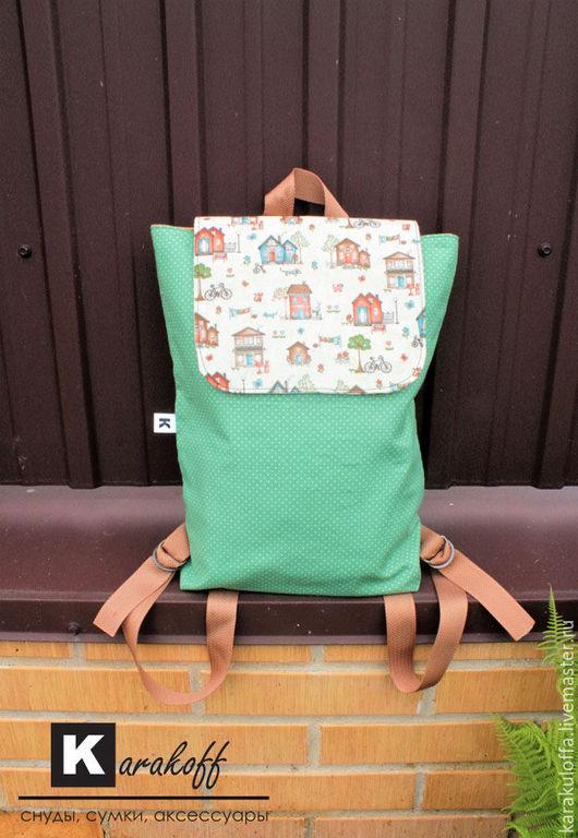 """Рюкзаки ручной работы. Ярмарка Мастеров - ручная работа. Купить Рюкзак """"Домики"""". Handmade. Зеленый, рюкзак текстильный, коричневый, фурнитура"""