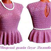 """Одежда ручной работы. Ярмарка Мастеров - ручная работа Топ с баской """"Розовые сны"""" вязаный. Handmade."""