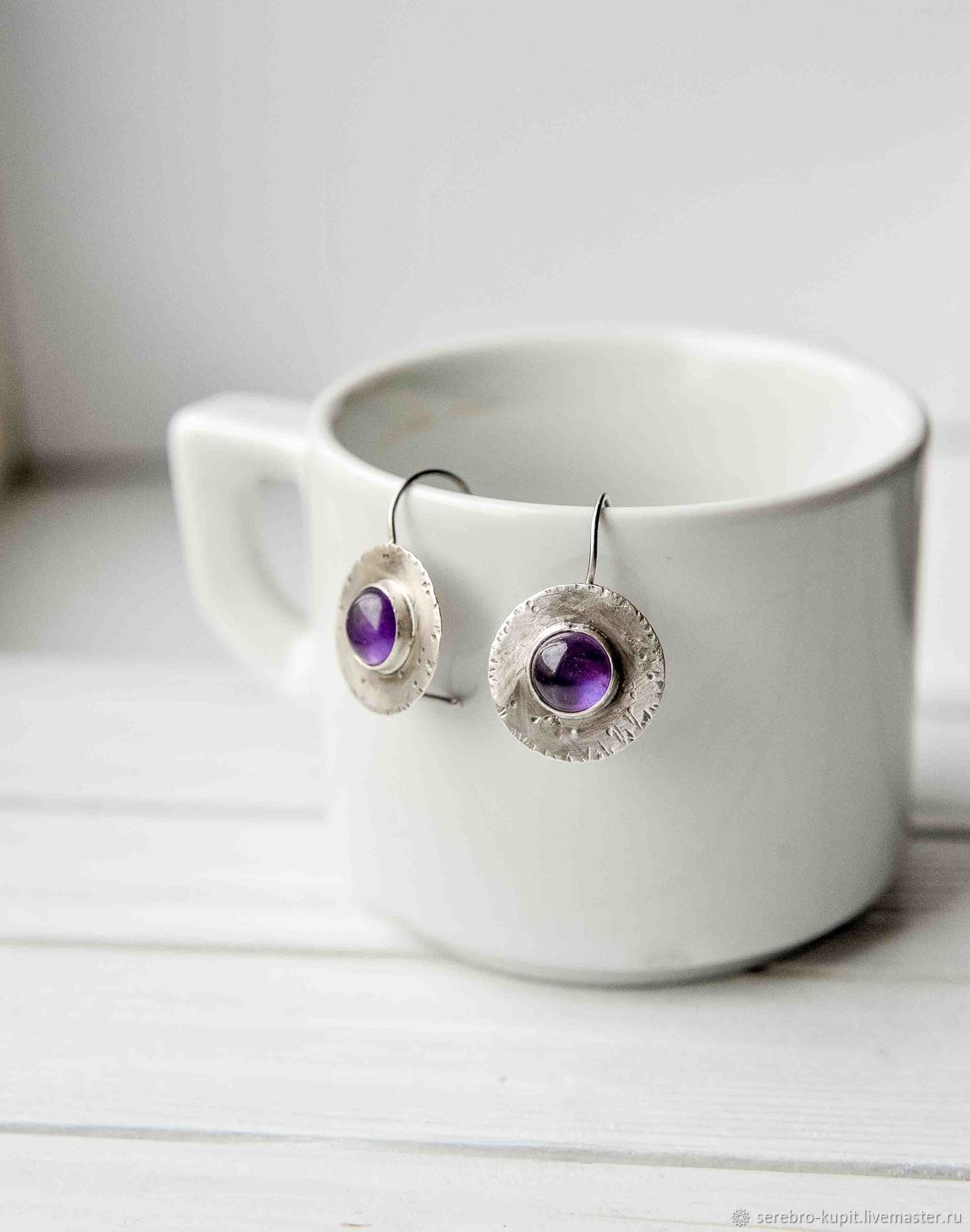 Silver earrings with amethyst sterling silver earrings. This is an exclusive silver jewelry handmade