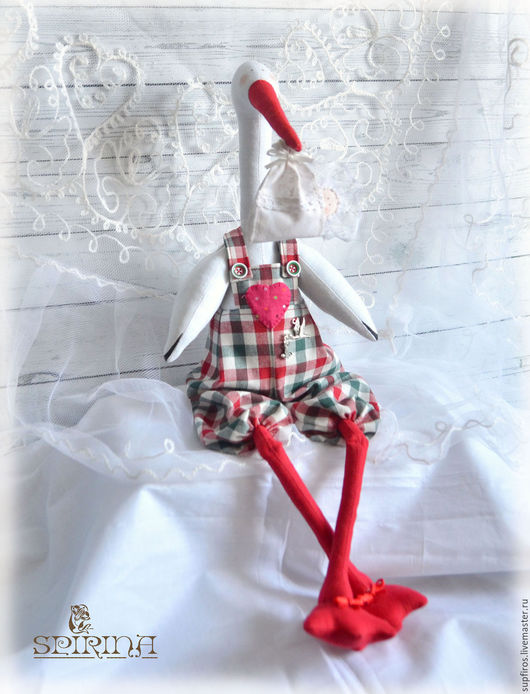 Куклы Тильды ручной работы. Ярмарка Мастеров - ручная работа. Купить Аист с младенцем. Handmade. Морская волна, подарок девушке