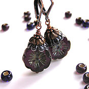 Украшения handmade. Livemaster - original item Fantasy Earrings glass ceramics bronze copper. Handmade.