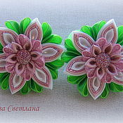 Работы для детей, handmade. Livemaster - original item Scrunchy Apple blossoms in the technique of kanzashi. Handmade.