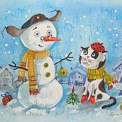 Картины и панно ручной работы. Ярмарка Мастеров - ручная работа Новый год вдовоём. Handmade.