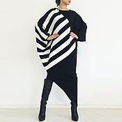 Одежда handmade. Livemaster - original item Womens sweater Asymmetrical sweater Dress-sweater - BLACK AND WHITE. Handmade.
