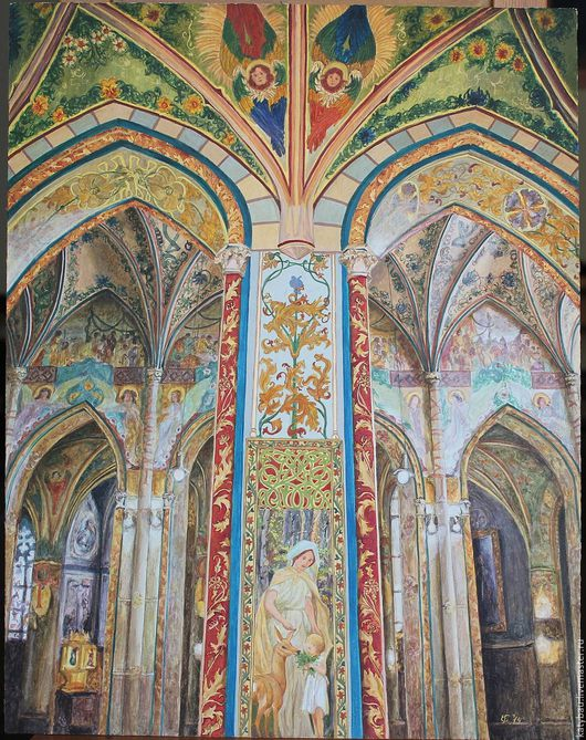 Храм Петра и Павла в Праге на Вышеграде. акрил на картоне, 40Х50