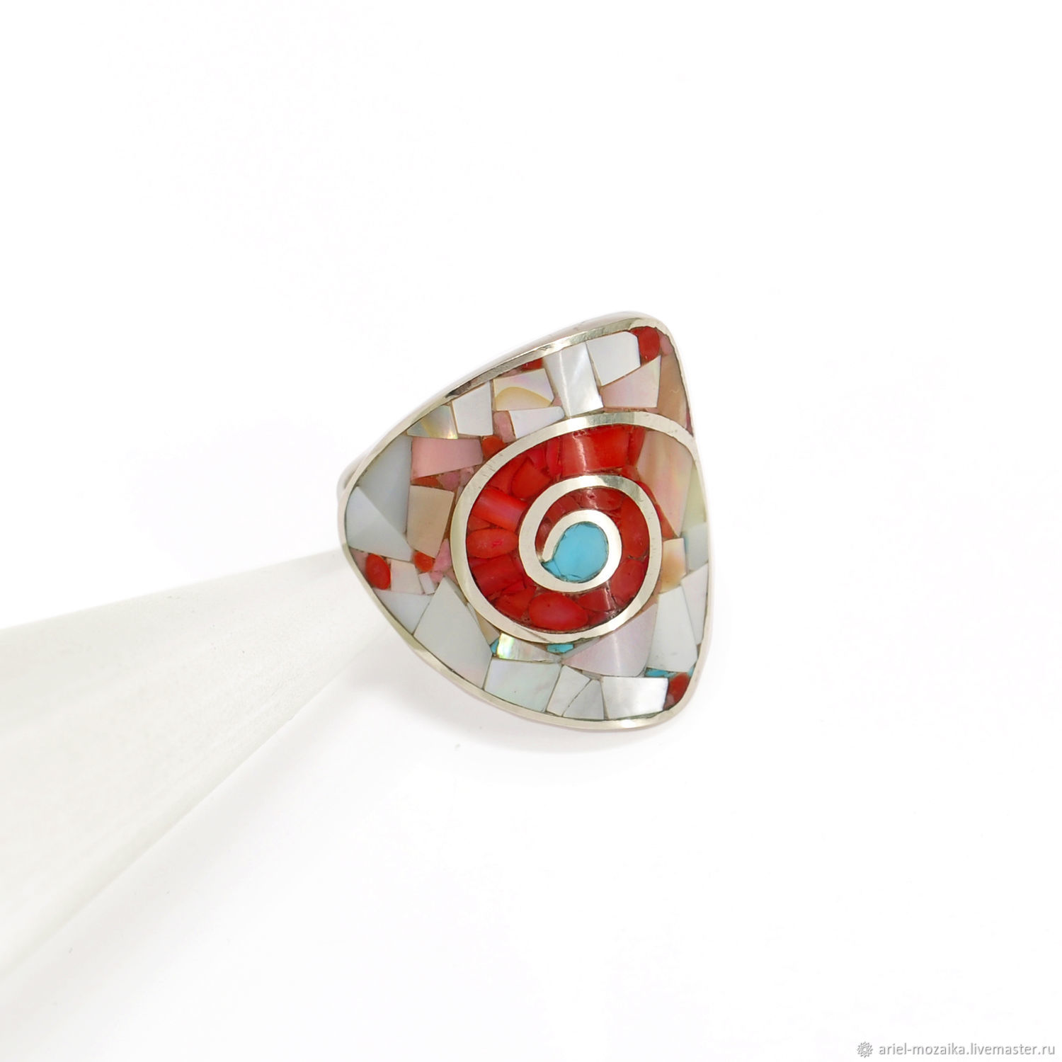 RING Nautilus. coral and mother of pearl. Ring handmade, Rings, Moscow,  Фото №1