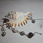 Украшения handmade. Livemaster - original item Bracelet and earrings with gray agate and pearls