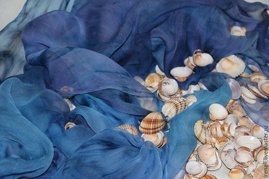 """Шали, палантины ручной работы. Ярмарка Мастеров - ручная работа. Купить Батик палантин """"Идеальный шторм"""". Handmade. Разноцветный, морской"""
