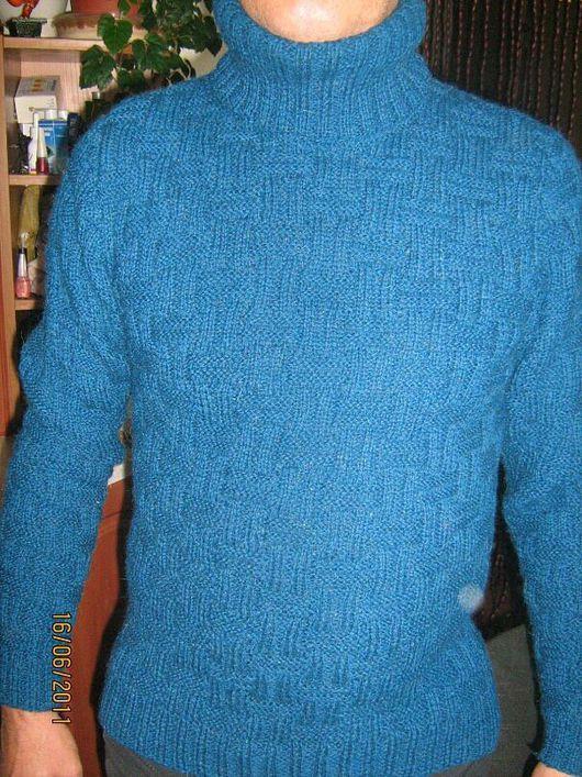 Кофты и свитера ручной работы. Ярмарка Мастеров - ручная работа. Купить свитер мужской вязанный. Handmade. Морская волна, однотонный