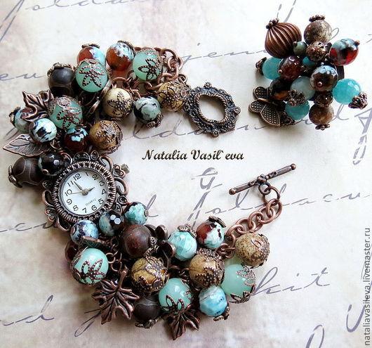 """Часы ручной работы. Ярмарка Мастеров - ручная работа. Купить Комплект """"Медь"""" часы-браслет и кольцо. Handmade. Часы, коричневый"""