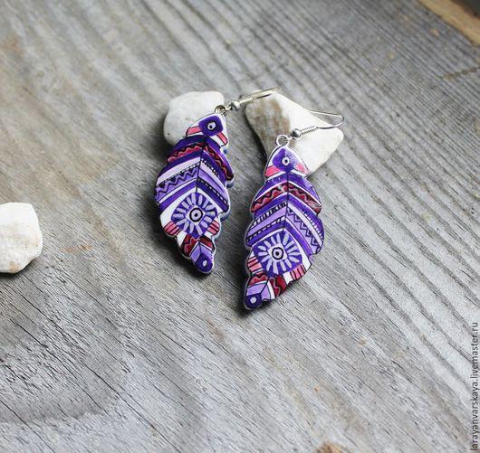 Серьги ручной работы. Ярмарка Мастеров - ручная работа. Купить Серьги Этнические. Handmade. Фиолетовый, этно, купить подарок девушке