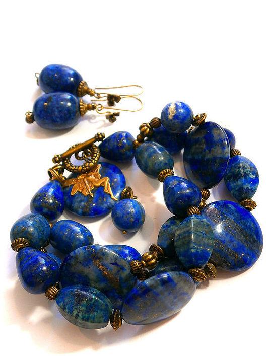 """Браслеты ручной работы. Ярмарка Мастеров - ручная работа. Купить браслет """"Синь морей"""". Handmade. Лазурит"""