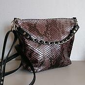 Сумки и аксессуары handmade. Livemaster - original item Leather bag. Crossbody bag. Hobo small. Python grey. Handmade.