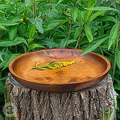 Посуда handmade. Livemaster - original item Wooden Plate - a dish of Siberian pine 36#23. Handmade.