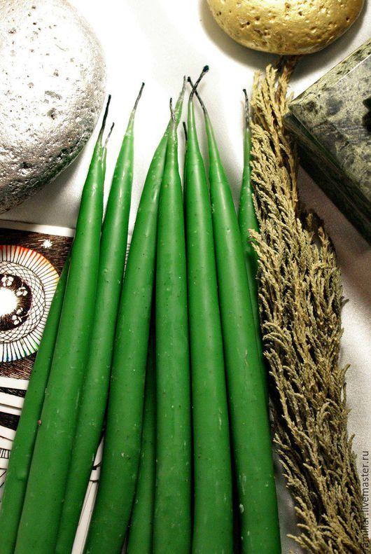 Свечи ручной работы. Ярмарка Мастеров - ручная работа. Купить Свечи восковые маканые зеленые. Handmade. Зеленый, ритуальные свечи
