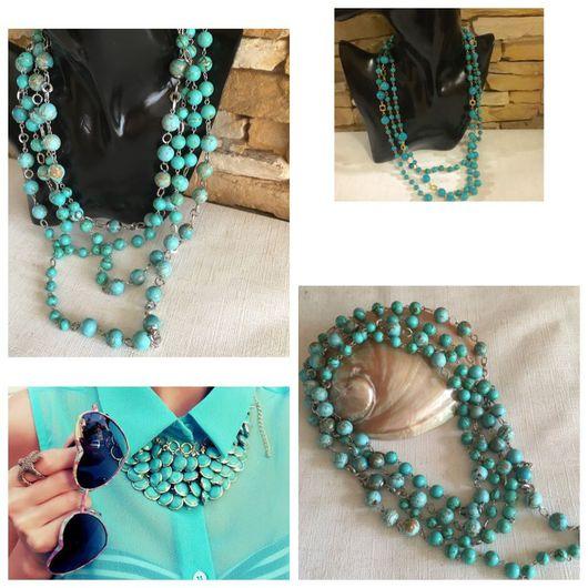 Красивые длинные бирюзовые бусы колье ожерелье из натуральных камней купить Модные авторские украшения в Москве
