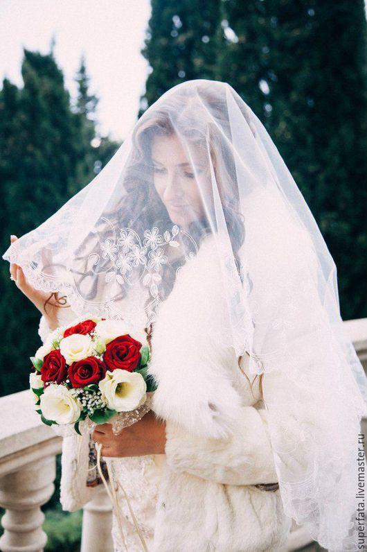 Одежда и аксессуары ручной работы. Ярмарка Мастеров - ручная работа. Купить Свадебная фата, фата, фата невесты. Handmade. Белый