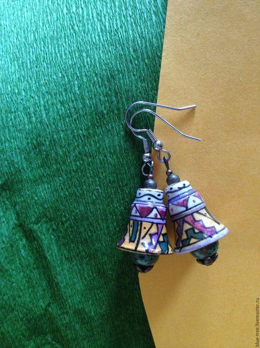 """Серьги ручной работы. Ярмарка Мастеров - ручная работа. Купить Серьги """" Перуанские колокольчики"""".. Handmade. Комбинированный, серьги, Керамика"""