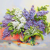 Картины и панно handmade. Livemaster - original item The picture embroidered with ribbons lilacs and lilies of the valley. Handmade.