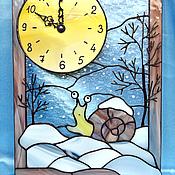 """Для дома и интерьера ручной работы. Ярмарка Мастеров - ручная работа Часы """"Улитка и снег"""". Handmade."""