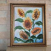 """Картины и панно ручной работы. Ярмарка Мастеров - ручная работа картина маслом """"Подсолнухи"""". Handmade."""