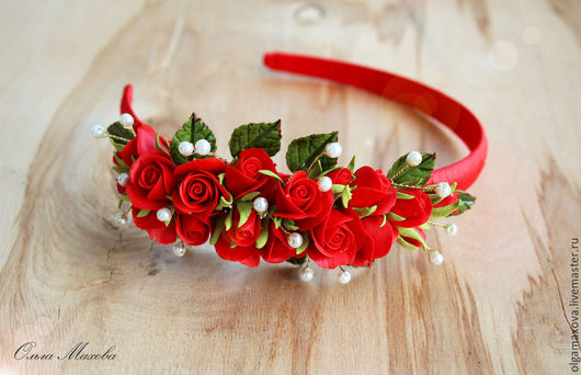 Диадемы, обручи ручной работы. Ярмарка Мастеров - ручная работа. Купить Ободок с красными розами. Handmade. Ярко-красный, фоамиран