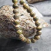 Материалы для творчества manualidades. Livemaster - hecho a mano Sueltos de perlas de color beige con rayas. Handmade.