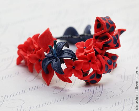 Браслеты ручной работы. Ярмарка Мастеров - ручная работа. Купить Красно-синий браслет с бантиком в горошек.. Handmade. Алый цвет