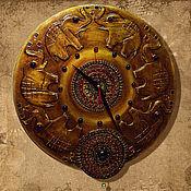 """Для дома и интерьера ручной работы. Ярмарка Мастеров - ручная работа Часы """"Старая Индия"""" № 2 (хоботы вверх)). Handmade."""