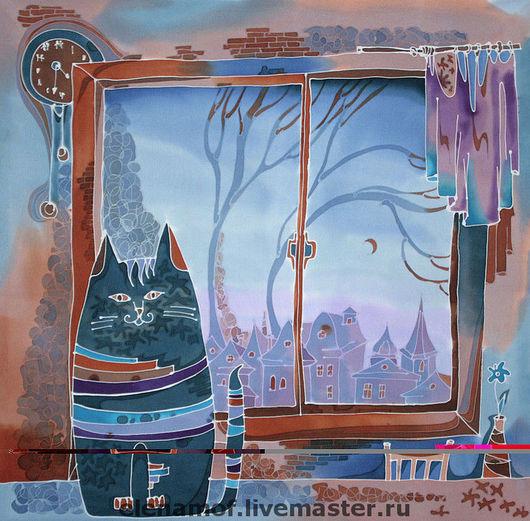 Животные ручной работы. Ярмарка Мастеров - ручная работа. Купить Панно Ветер за окном. Handmade. Панно, Батик