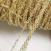 Материалы для творчества ручной работы. Ярмарка Мастеров - ручная работа Цепочка 1,5х2мм (золотистая), 1 метр. Handmade.