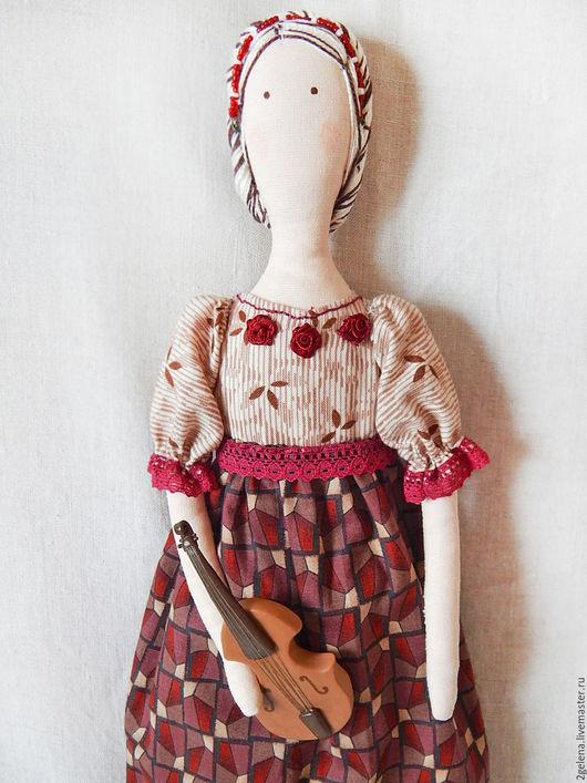 Куклы Тильды ручной работы. Ярмарка Мастеров - ручная работа. Купить кукла Скрипачка. Handmade. Бордовый, кукла интерьерная