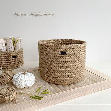 Для дома и интерьера ручной работы. Ярмарка Мастеров - ручная работа Корзина из джута. Handmade.