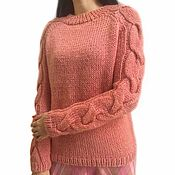 Одежда handmade. Livemaster - original item Women`s jumper Dry rose, wool, mohair, braids, large knitting. Handmade.