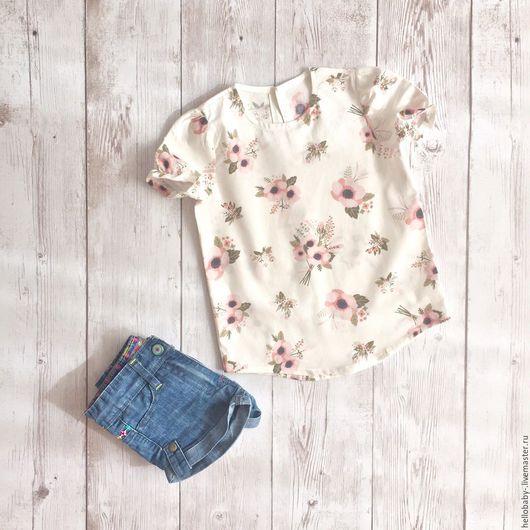 """Одежда для девочек, ручной работы. Ярмарка Мастеров - ручная работа. Купить Блузка для девочки """"Маки на белом"""". Handmade. Комбинированный, топ"""