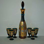 Винтаж handmade. Livemaster - original item Exclusive! Decanter 40 cm 6 shot glasses hand painted in gold Egermann. Handmade.