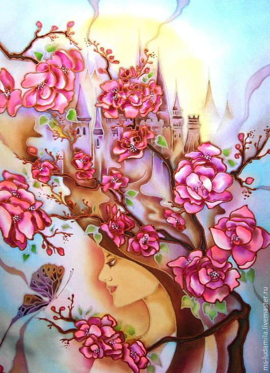 """Фантазийные сюжеты ручной работы. Ярмарка Мастеров - ручная работа. Купить Батик картина """"Воздушные замки"""". Handmade. Розовый, девушка"""