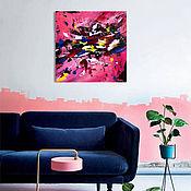 Картины ручной работы. Ярмарка Мастеров - ручная работа Картина акрилом крупные капли краски абстракция в ярких цветах. Handmade.