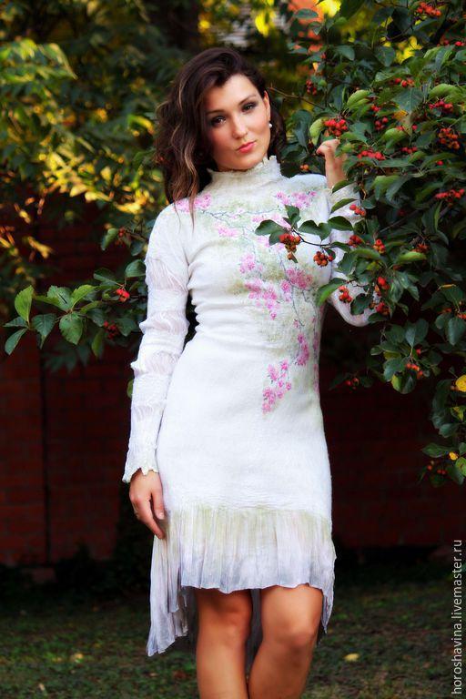 Платья ручной работы. Ярмарка Мастеров - ручная работа. Купить Сакура платье нуновойлочное. Handmade. Сакура, платье авторское
