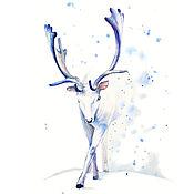 """Картины и панно ручной работы. Ярмарка Мастеров - ручная работа Акварель """"Белый олень"""". Handmade."""
