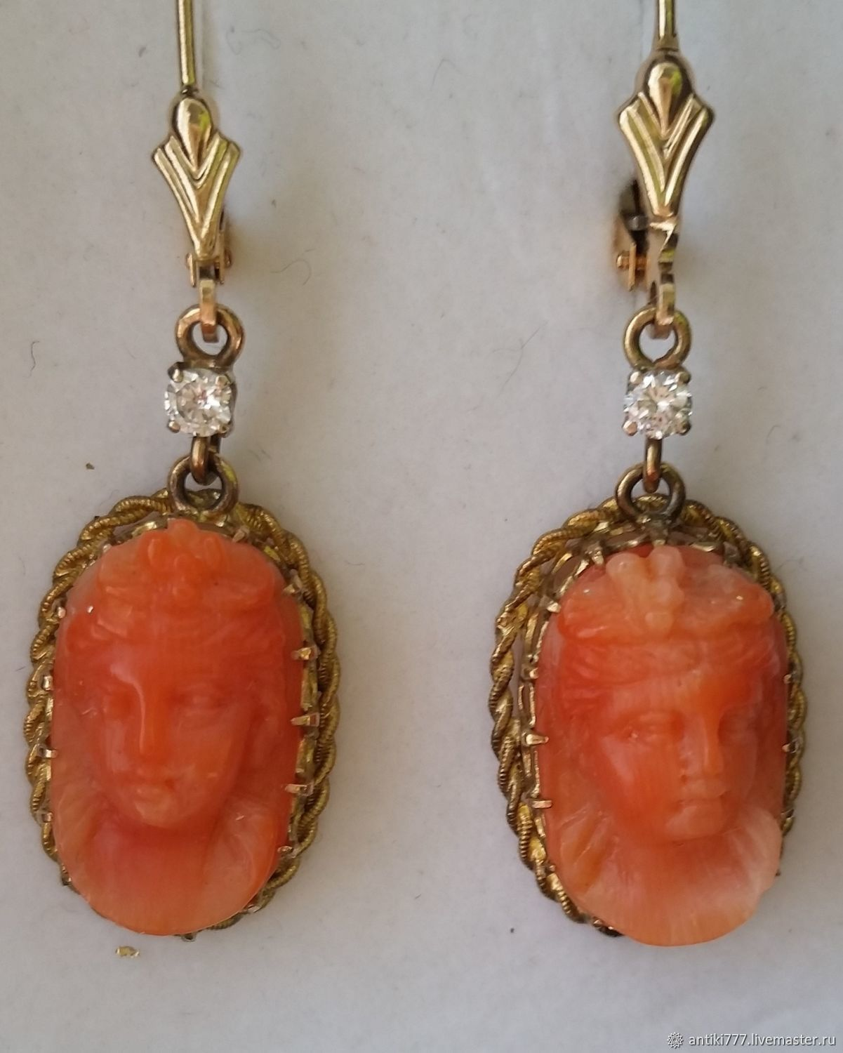 Gold earrings with diamonds and coral cameos of the 19th century, Vintage earrings, Moscow,  Фото №1