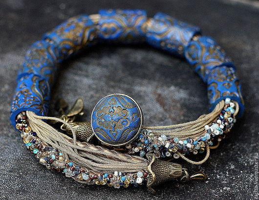 Комплекты украшений ручной работы. Ярмарка Мастеров - ручная работа. Купить колье,кольцо  из полимерной глины богатство в синих тонах. Handmade.
