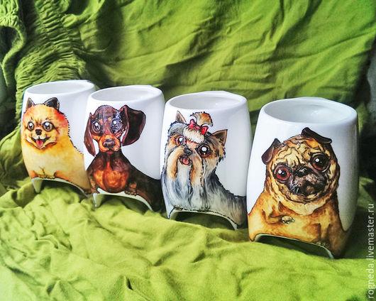 """Кружки и чашки ручной работы. Ярмарка Мастеров - ручная работа. Купить Чайный набор """"Собаки"""" чашки с ножками (0748). Handmade."""