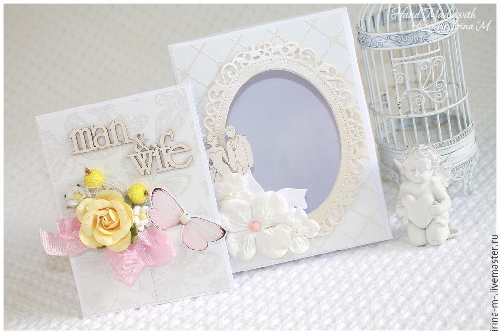 Свадебные открытки ручной работы. Ярмарка Мастеров - ручная работа. Купить Свадебный комплект: открытка в коробочке. Handmade. Короб, коробочка